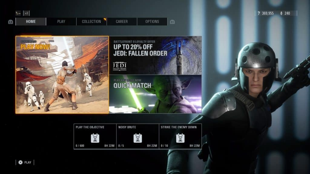 Star Wars Battlefront 2 home screen ps4